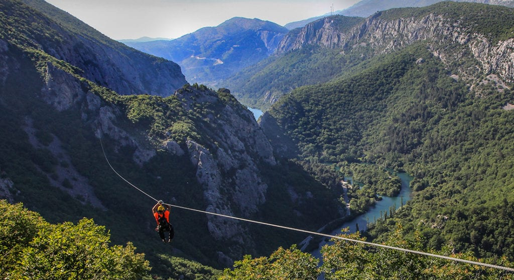 zipline over cetina canyon